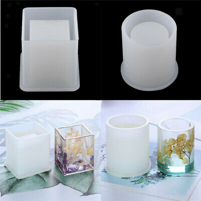 1× Silicone Mold Pen Container Epoxy Resin DIY Square Round Storage Holder Mould