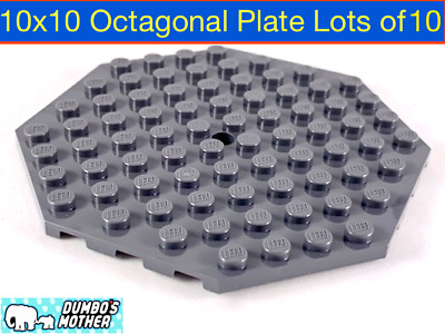 LEGO Plate Modified 10 x 10 Octagonal with Hole Dark Tan 89523