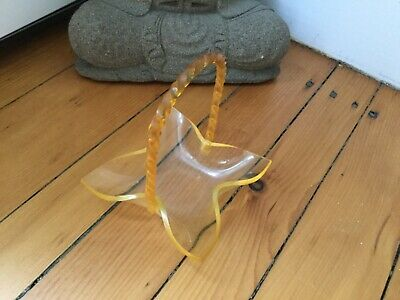 Vintage 50's Mid-Century Yellow Lucite Basket with Twisted Handle