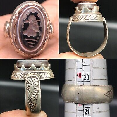 Solid Silver Old Roman Agate king Seal intaglio Face Ring