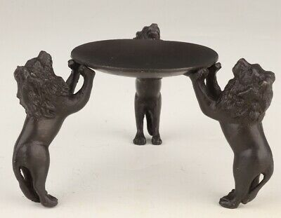 Retro Chinese Bronze Statue Lion Lamp Stand Old Solid Mascot Decoration Gift