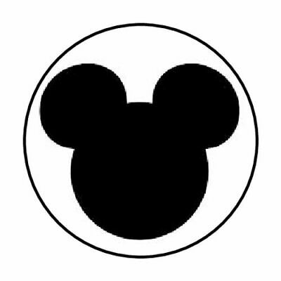 """48 Mickey Mouse Head Ears Black Envelope Seals Labels Stickers 1.2"""" Round"""