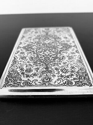 Antique hand engraved Persian Islamic Arabic solid silver cigarette case 160 Gr