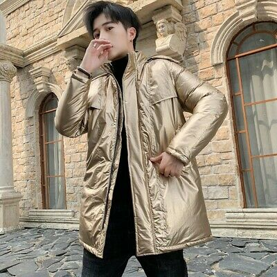 Winter Men Cotton Padded Puffer Jacket Outwear Quilted Glossy Shiny Thick Casual