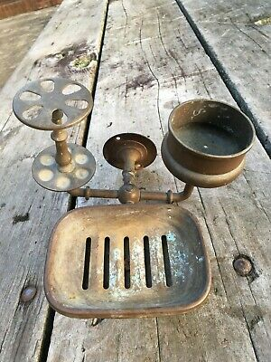 Antique Victorian Deco Brass Soap Toothbrush Cup Holder Sink