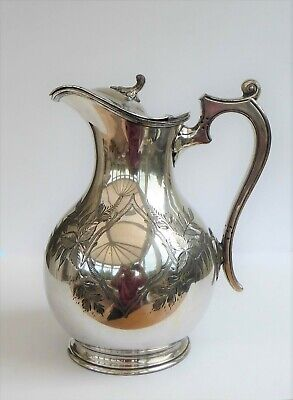 Walker & Hall Silver-Plated Claret Jug Lidded Pitcher Engraved Leaves