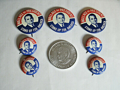 """7 Wallace for President Stand Up For America Political Buttons and 1.5"""" Coin"""