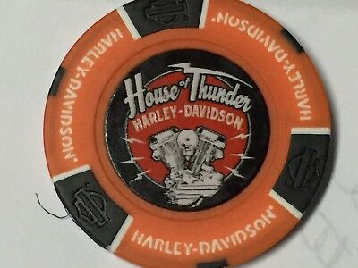 Harley Poker Chip   HOUSE OF THUNDER HD   MORGAN HILL, CA    ORANGE Background