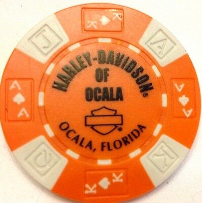 Harley Poker Chip   OCALA HD  OCALA, FL   ORANGE & WHITE   OUT of Business