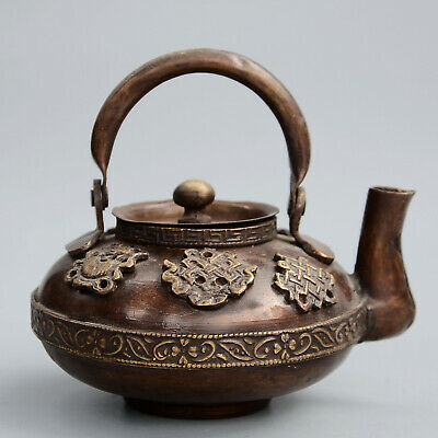 Collectable China Antique Copper Handwork Carved Flowers Ancient Delicate Teapot