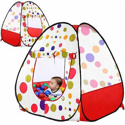 Pop Up Children Kids Baby Play Tent Playhouse Spotty Indoor Outdoor Ball Pit Red