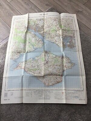 1963 old vintage OS Ordnance Survey seventh series one-inch Map 180 The Solent