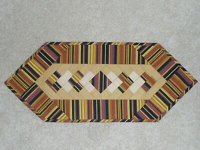 Handmade Quilt table runner, Longaberger Autumn Stripe, Fall Halloween, Yellow