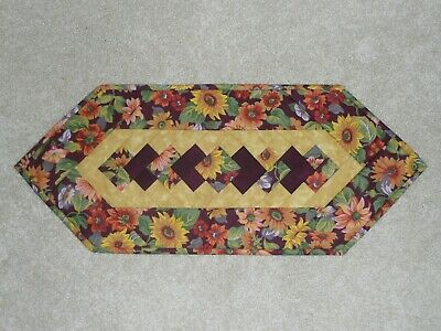 Handmade Quilt table runner, Longaberger Plum Sunflower, Fall, Autumn, Flowers