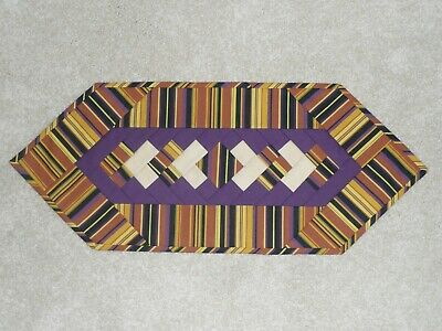 Handmade Quilt table runner, Longaberger Autumn Stripe, Fall Halloween, Purple