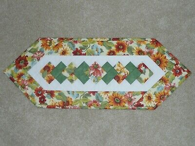 Handmade Quilt table runner, Longaberger Sunflowers, Fall Floral, Flowers Orange