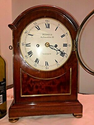 late 19th fusee mantle clock, mahogany brass inlaid fusee mantle clock