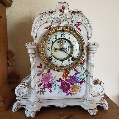 Antique 1881 Ansonia Victorian Royal Bonn Porcelain Ceramic Mantel Clock Running
