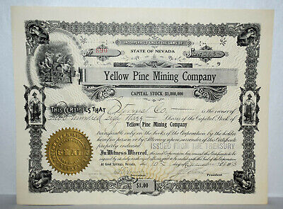 7. State Of Nevada Stock Certificate Yellow Pine Mining Co Inc 1901 / Issue 1913