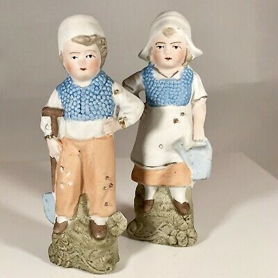 Antique German Bisque Dutch Boy And Girl Hand Painted Signed 3873