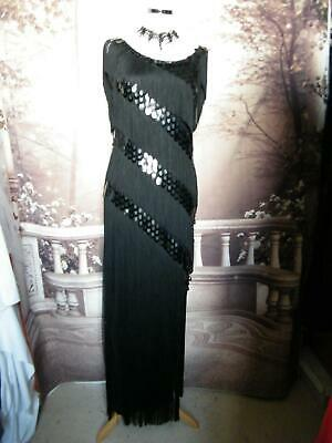 Phase Eight Ballgown/Dress size 12 Black Sequin Fringe Maxi Gatsby Flapper Deco