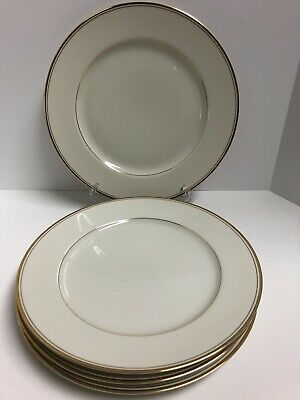 Mikasa TROUSDALE 4-Dinner Plates Ivory with Gold Trim 10 7/8 inches L 2801 Japan