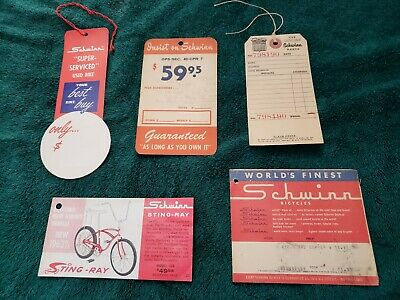 Schwinn Sting-Ray Bicycle Hangtags Store Display Tags Lot Collectibles Tickets