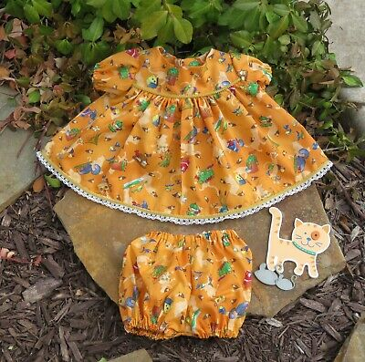 """Handmade Doll Clothes for 18"""" - 20"""" Cabbage Patch Dolls - """"Cats Playing"""" Dress"""