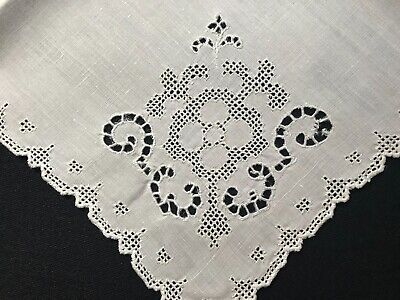 """Two Antique Linen Dinner Napkins Hand Made Mosaic Embroidery Cut Work 14""""SQ"""
