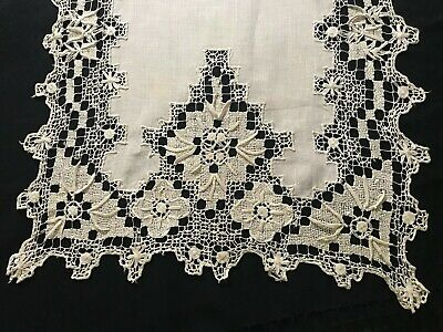 Antique Edwardian Elaborate Net Embroidery Off-white Exceptional Linen Runner