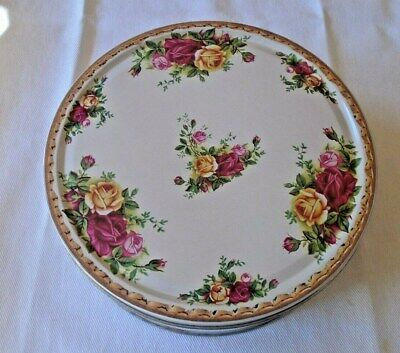 "Royal Albert Old Country Roses Cookie Tin 2002 Metal Made in England 7.5"" Rare"