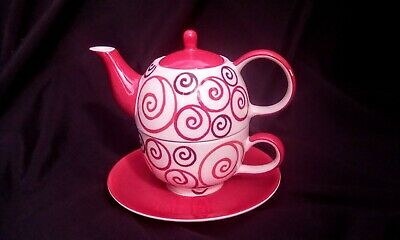 Whittard of Chelsea Tea for One Hand Painted Ceramic 3 Piece Teapot, Cup, Saucer
