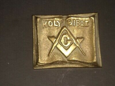 OLD VINTAGE FREE MASON HOLY BIBLE  Brass / Bronze Book MASONIC