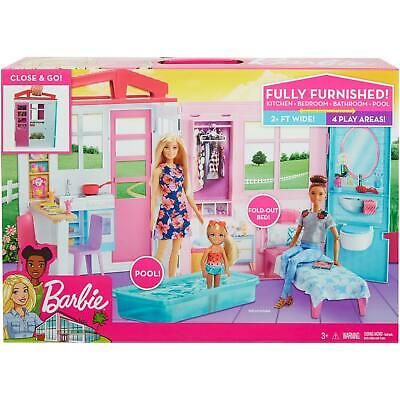 Close & Go House Dollhouse Kids Portable Girls Fun Playset Themed Accessories