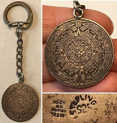 Vintage MEXICO Signed ARC Sterling MAYAN AZTEC CALENDAR Keychain Fob/Chain