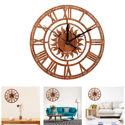 Home Wooden Sun Shaped Round Roman Numeral Wall Clock Home Office Decoration
