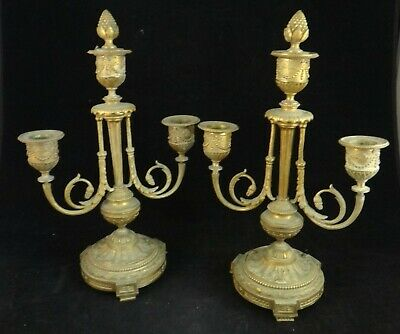 "Pr. Antique French Louis XVI Style Gilt Bronze 3 Branch Candelabra.  11 3/8"" t."