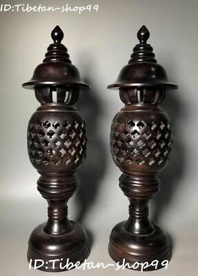 "18"" China Sandalwood Wood Carving Anicent Dynasty lantern Oil Lamp Pair Statue"