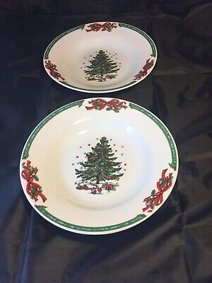"Christmas in the Park Rimmed Soup Cereal Bowl 8"" Holly Holiday Tree Lot of 2 NEW"