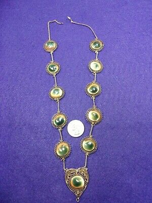 Awesome Vtg Antique Handmade Sterling Silver Filigree & Operculum Shell Necklace