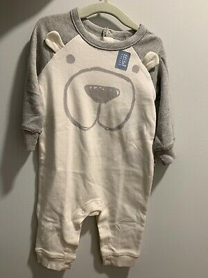 Nwt Baby Gap Boys 3-6 Months One-Piece Romper White /& Gray Bear Romper
