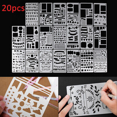 20x Bullet Journal Stencils Plastic Planner Stencils Drawing Templates Set