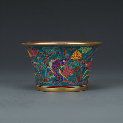 """4.1"""" Old China xuande mark gilt colour enamels fish pattern Horseshoe cup"""