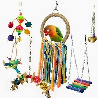 6 Pcs Parrot Bird Wooden Hanging Bell Pet Bird Cage Hammock Swing Bite Toys HOT