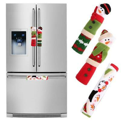 Handle Cover 3Pcs Snowman Anti Static Refrigerator Microwave Oven Door Accessory