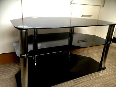 Black Chrome Glass Tempered Glass 3 Tier Tv Television Stand Table+ Free Table