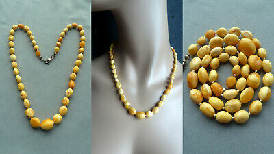 GT22 老琥珀 real white amber necklace butterscotch Bernstein Kette Collier