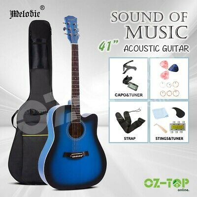 "Melodic 41"" Acoustic Guitar Classical Folk Wooden Guitar Blue w/Stand Soft Case"