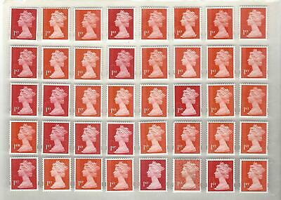 Gb 40 1St Class Unfranked Stamps F/V £28 - Off Paper With Gum