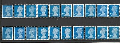 Gb 20  2Nd Class Unfranked Stamps Without Tags  F/V £12 - Off Paper No Gum